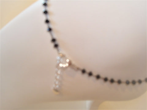 bling ~ anklet black on silver