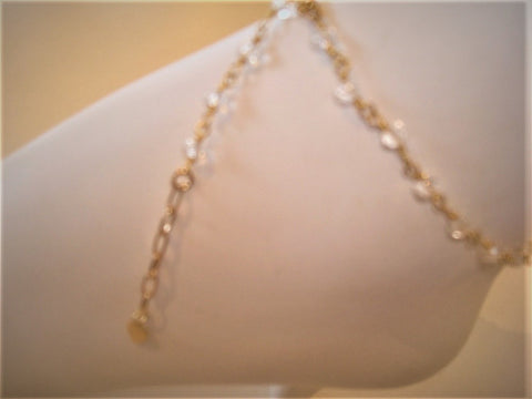 bling ~ anklet crystal on gold