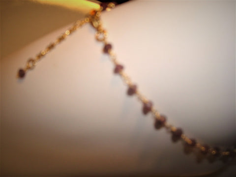 bling ~ anklet garnet on gold