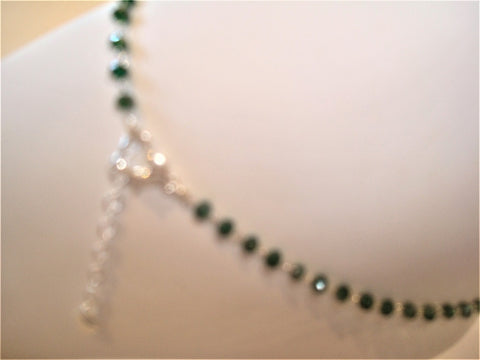 bling ~ anklet green on silver