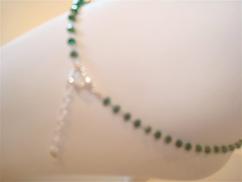 bling ~ anklet green dark on silver