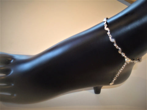 bling ~ anklet silver waves on silver