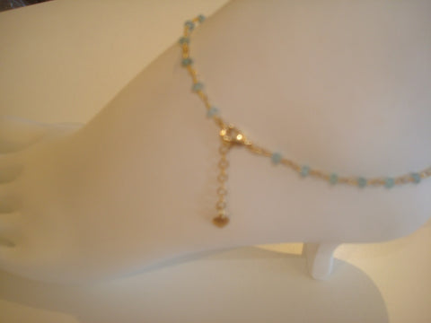 bling ~ anklet turquoise on gold