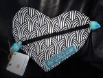 A Personal Care Boutique heart zipper pouch black and white front