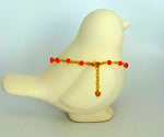bling ~ anklet orange on gold