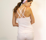 camisole bamboo back criss cross straps pink