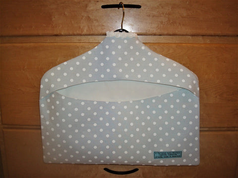 wardrobe ~ clothing cover pastel blue with white polka dots