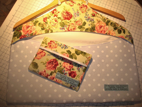 wardrobe ~ clothing cover blue with polka dots and shabby chic floral