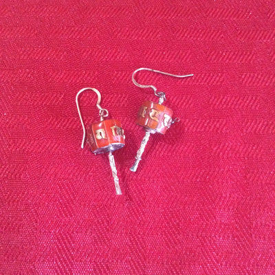 Prayer Wheel earrings inlaid
