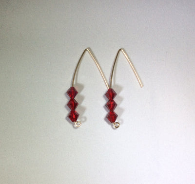 Dakini Earrings - white, blue, yellow, red, green, and multi color crystal