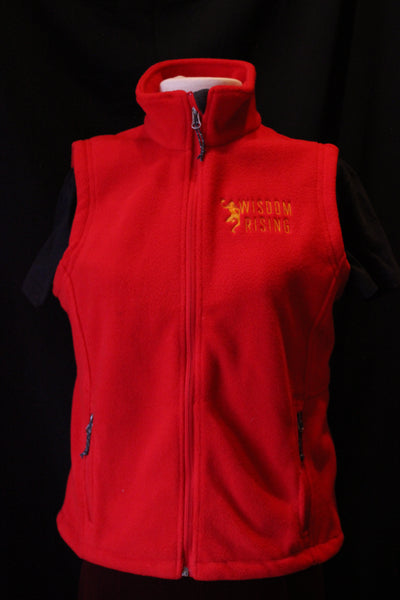 Wisdom Rising Fleece Vest-red-womens