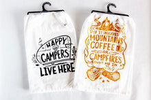Load image into Gallery viewer, Mountains, Coffee and Campfires Flour Sack Dish Towel