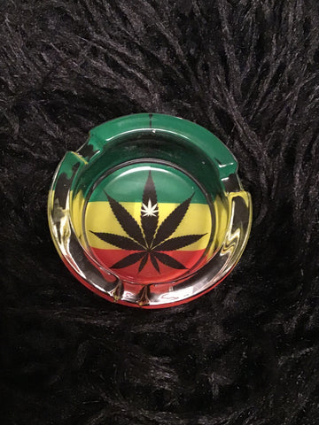 Leaf Design Glass Glow in the Dark Ashtray