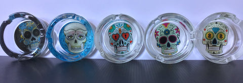 Blue Skull Design Glass Ashtray