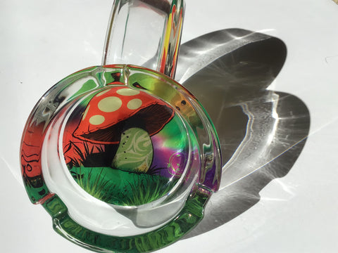 Mushroom Highest Quality Canna Design Durable Glass Ashtray yoga, yoga smokes, tattoo, face, nails, nail, glass retail, online, web, weborder, website, tanks, lounge, odor, smoke shop near me, liquid smoke, smoke shop, lounge, smoke lounge, stoner, smoke, high, life, highlife, dabber, love, stoned, highsociety.