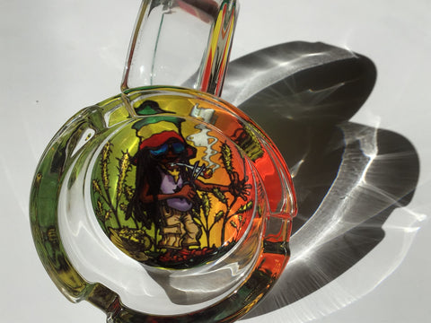 Smoking Rasta and Jamaican Design Glass Ashtray yoga, yoga smokes, tattoo, face, nails, nail, glass retail, online, web, weborder, website, tanks, lounge, odor, smoke shop near me, liquid smoke, smoke shop, lounge, smoke lounge, stoner, smoke, high, life, highlife, dabber, love, stoned, highsociety.