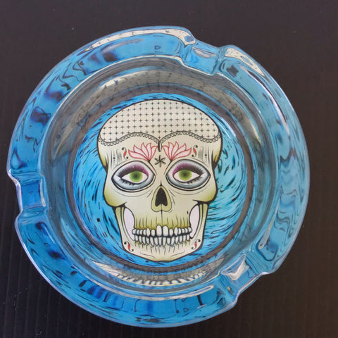 Blue Skull Design Glass Ashtray yoga, yoga smokes, tattoo, face, nails, nail, glass retail, online, web, weborder, website, tanks, lounge, odor, smoke shop near me, liquid smoke, smoke shop, lounge, smoke lounge, stoner, smoke, high, life, highlife, dabber, love, stoned, highsociety.