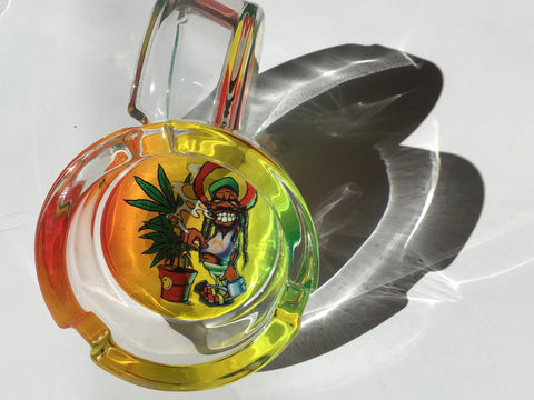Smoking Plant Rasta and Jamaican Design Glass Ashtray yoga, yoga smokes, tattoo, face, nails, nail, glass retail, online, web, weborder, website, tanks, lounge, odor, smoke shop near me, liquid smoke, smoke shop, lounge, smoke lounge, stoner, smoke, high, life, highlife, dabber, love, stoned, highsociety.