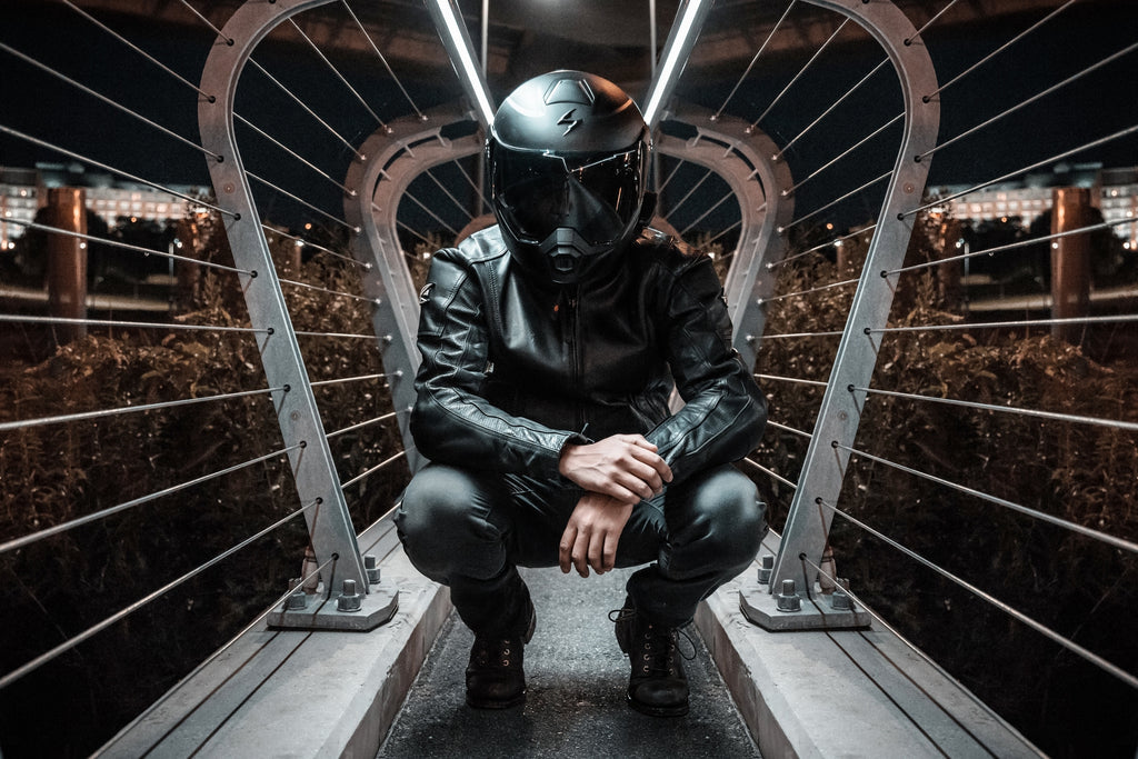 Man in Motorcycle Helmet