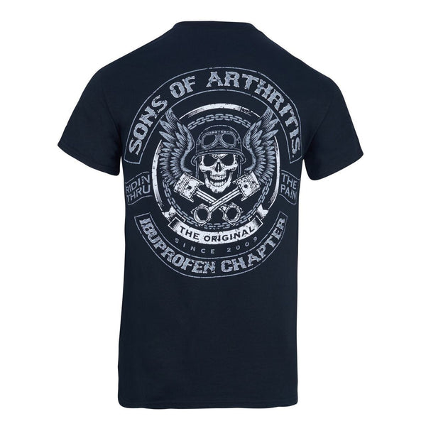 Sons of Arthritis Skull & Pistons Tee (Black)