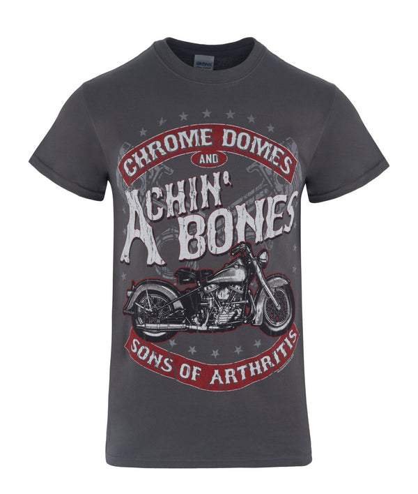 Chrome Domes & Achin Bones Grey Biker T-Shirt (Front Only)