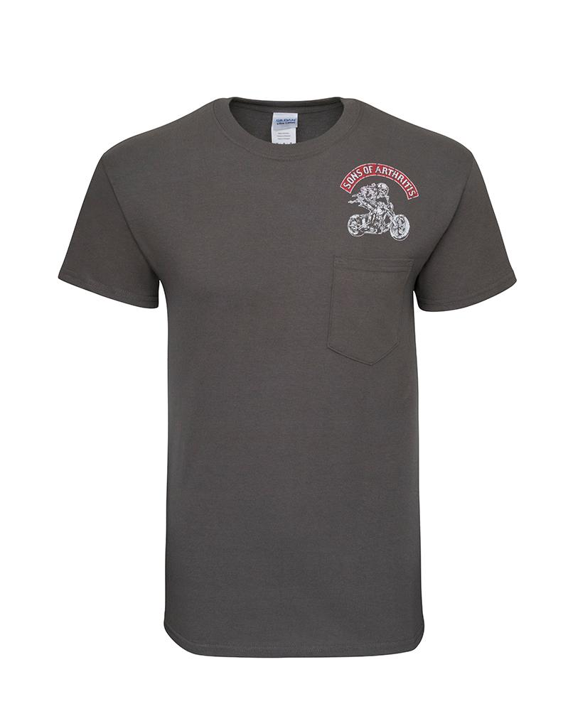 Chrome Domes & Achin Bones Grey Biker T-Shirt (Pocket Tee)