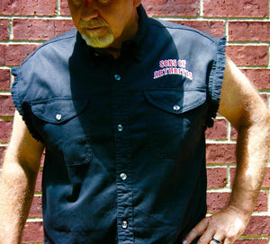 Skull & Pistons Milwaukee Performance Sleeveless Denim Biker Shirt