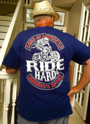 """Ride Hard"" Little Blue Pill Navy Blue 100% Cotton Biker T-Shirt"