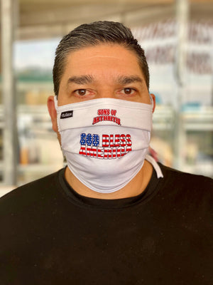 "Sons of Arthritis ""GOD BLESS AMERICA"" Washable Double Layer Adjustable Cotton Face Mask"