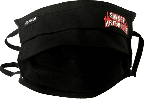 """SONS OF ARTHRITIS"" BLACK Washable Double Layer Adjustable Cotton Face mask"