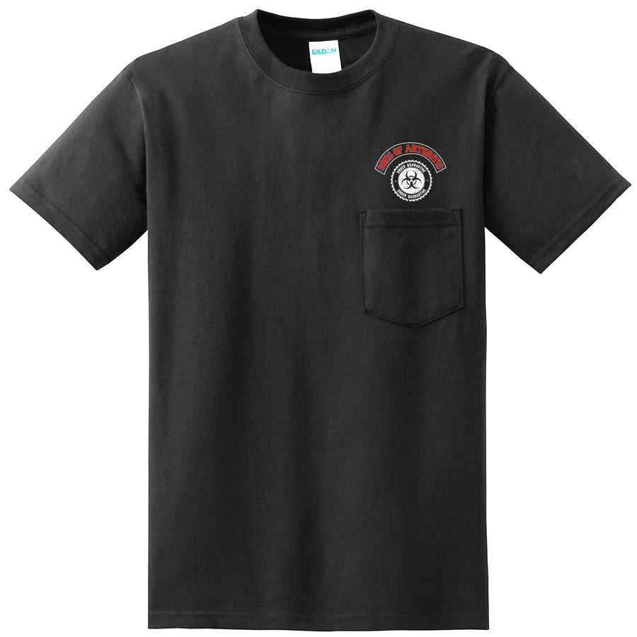 Limited Edition QUARANTINE CHAPTER POCKET Short Sleeve 100% Cotton Biker T-shirt?
