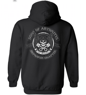 Sons of Arthritis Skull and Pistons PULLOVER Hoodie