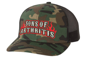 Sons of Arthritis RED FLAME CAMO Trucker Cap