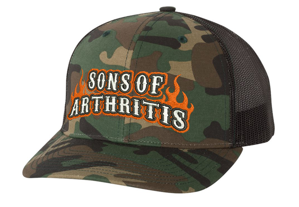 Sons of Arthritis ORANGE FLAME CAMO Trucker Cap