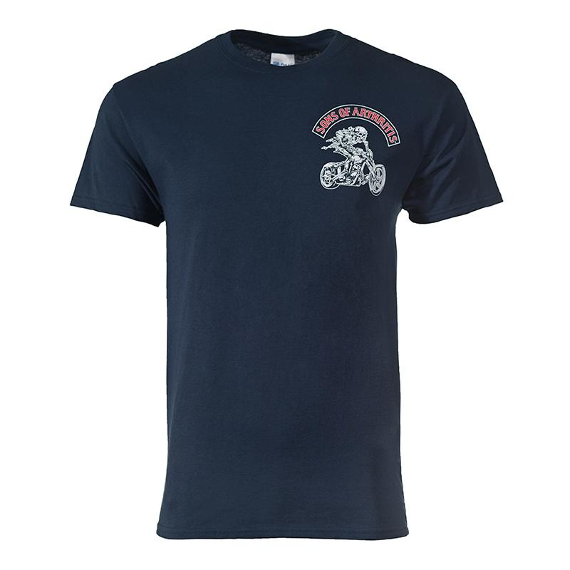 """Ride Hard & Medicate Often"" Little Blue Pill Navy Blue 100% Cotton Biker T-Shirt"