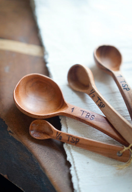 Natural Maca Wood Measuring Spoon Set