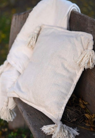 Cream Tassel Pillow Cover
