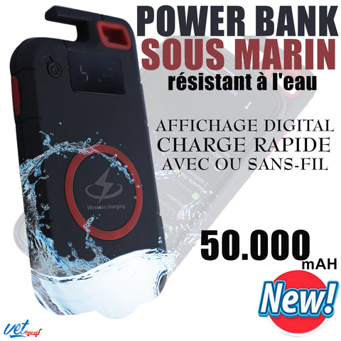 Power Bank waterproof 50000mAh Chargeur portable Affichage digital