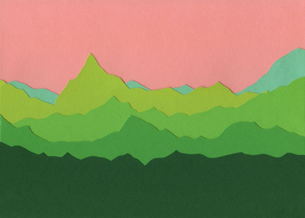 Handmade Paper Cut Out – Green Mountains II