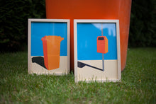 Load image into Gallery viewer, Handmade Paper Cut Out – Orange Garbage Bin