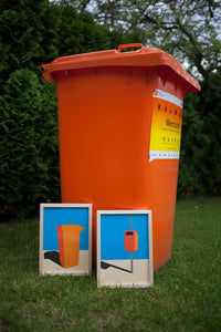 Handmade Paper Cut Out – Orange Garbage Bin