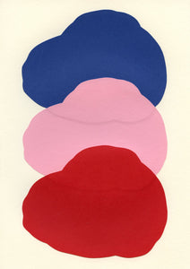Handmade Paper Cut Out – Blue, Pink & Red Form On White