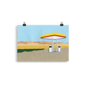 Poster Art Print Illustration – Gas Station Death Valley