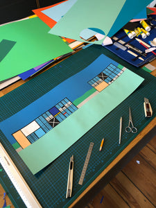 Handmade Paper Cut Out – Eames House, Case Study House No. 8