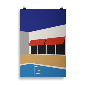 Poster Art Print Illustration – Palm Springs Pool House