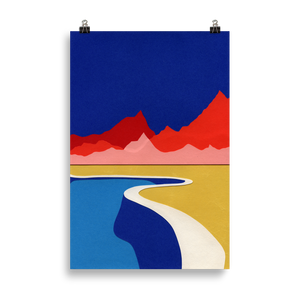 Poster Art Print Illustration – Red Hills Desert Pool