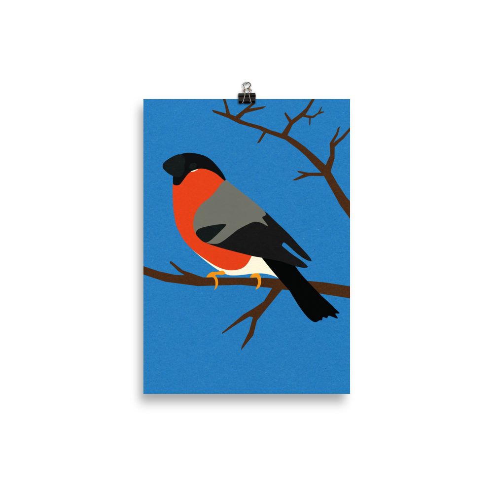 Poster Art Print Illustration – Bullfinch On A Tree