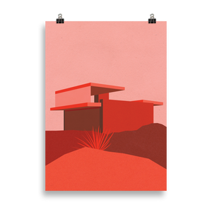 Poster Art Print Illustration – Kaufmann Desert House Red Edition