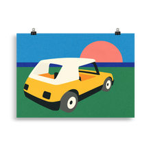 Load image into Gallery viewer, Poster Art Print Illustration – Sunset Car