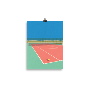 Poster Art Print Illustration – Tennis Court In The Desert